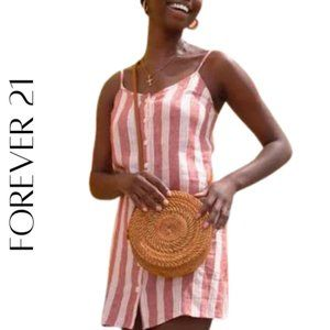 FOREVER 21 Linen-Blend Striped Cami Dress, S, NWT!